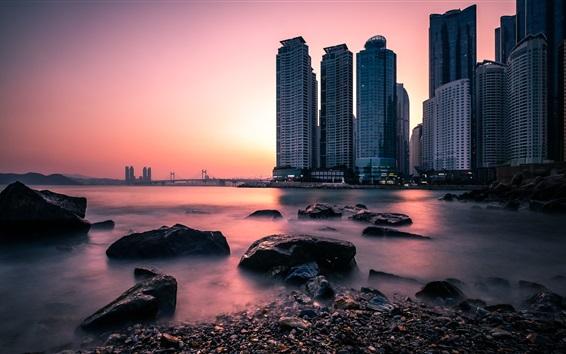 Wallpaper South Korea, Busan, Dongbaek Park, city, skyscrapers, stones, river, sunset
