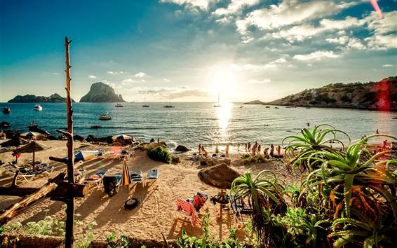 Wallpaper Spain, beach, Ibiza island, sea, sunshine, people