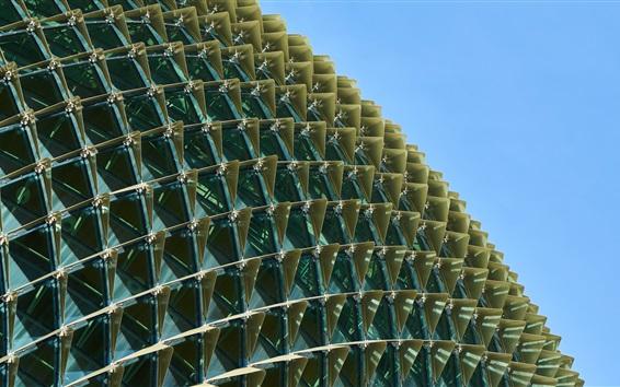 Fond d'écran Bâtiment de la sphère, nombreuses fenêtres, ciel bleu