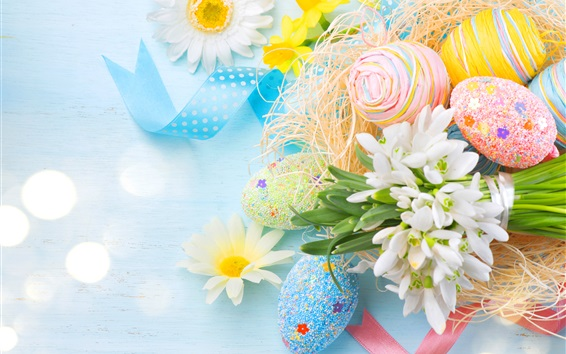 Wallpaper Spring, Easter, colorful eggs, flowers