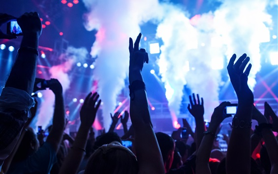 Wallpaper Stage, party, electronica, smoke, people