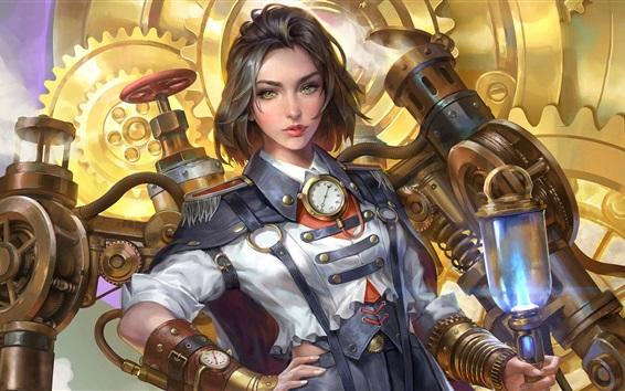 Wallpaper Steampunk, Steam Engineer, short hair girl, art picture