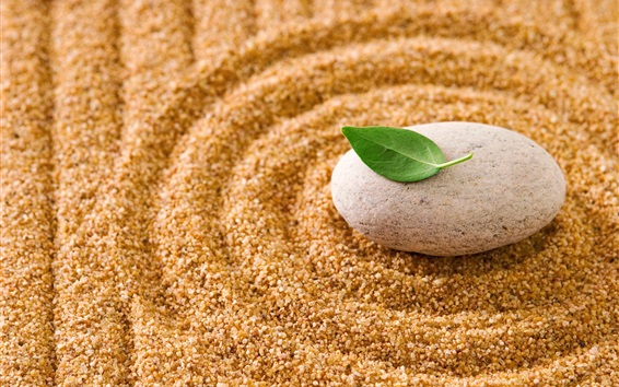 Wallpaper Stone, leaf, sands