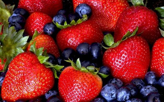 Wallpaper Strawberry and blueberry, delicious fruit