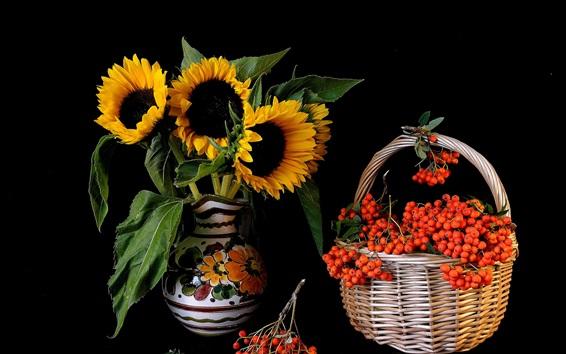 Wallpaper Sunflowers, red berries