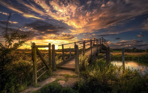 Wallpaper Sunset, bridge, river, bushes, grass