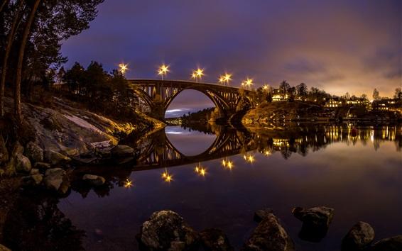 Wallpaper Sweden, river, bridge, water reflection, night, lights