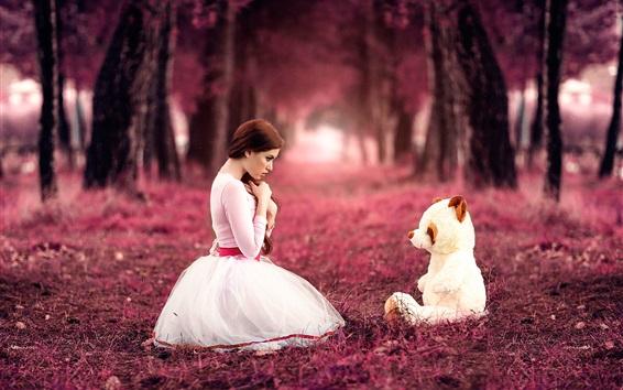 Papéis de Parede Doce menina e urso de brinquedo, outono