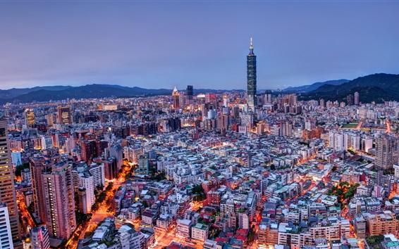 Wallpaper Taiwan, Taipei, mountains, city, night, lights