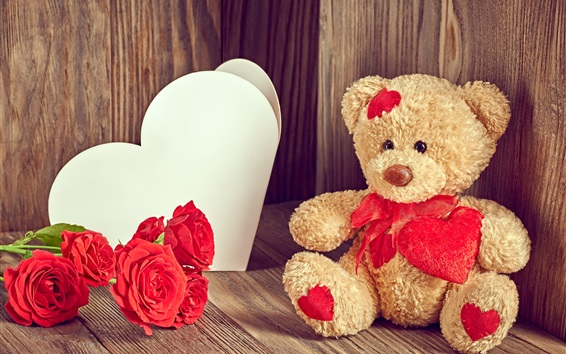 Wallpaper Teddy bear, red roses, love heart