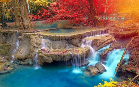 Wallpaper Thailand, waterfall, trees, rocks, autumn