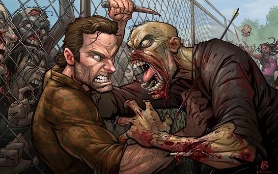 Fondos de pantalla The Walking Dead, zombie, imagen de arte