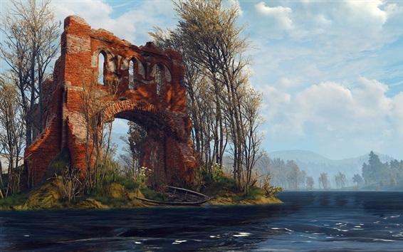壁纸 巫师3:狂猎,河流,森林,废墟