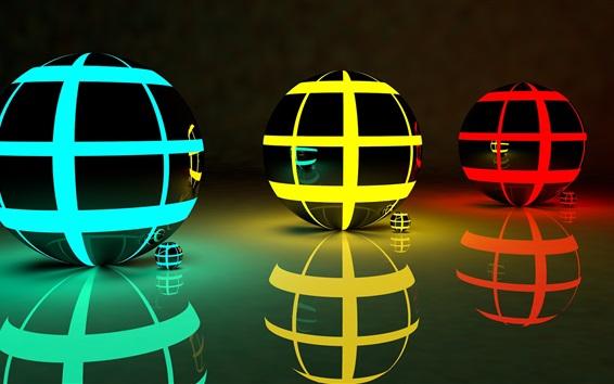 Wallpaper Three 3D balls, abstract, colors