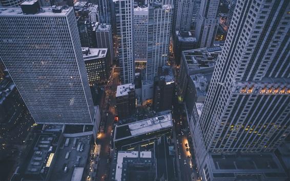 壁紙 トップビューの街、高層ビル、夕暮れ