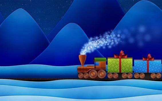 Обои Поезд, горы, подарки, снег, творческая картина