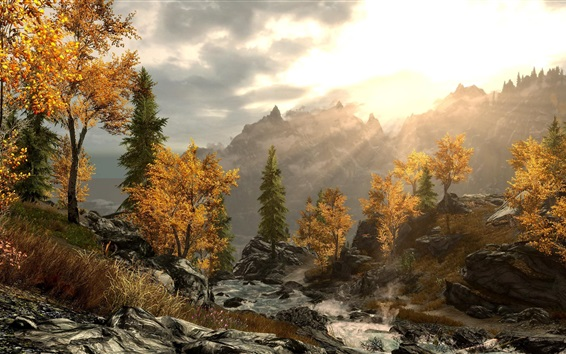 Wallpaper Trees, mountains, stones, sun rays, autumn