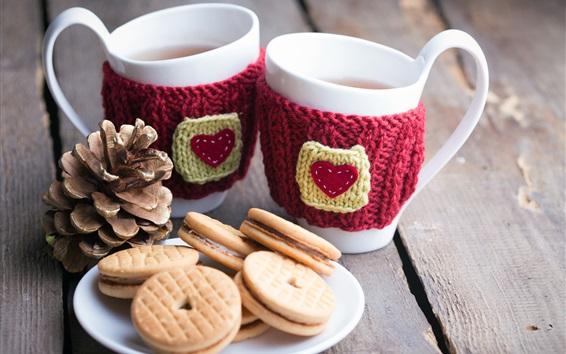 Papéis de Parede Duas xícaras de chá, biscoitos