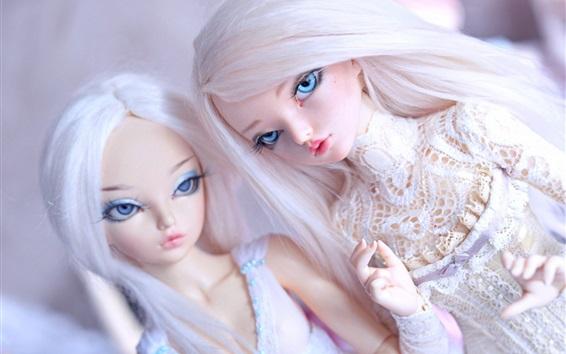 배경 화면 두 인형 소녀, 장난감, 흰 머리