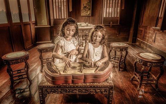 Wallpaper Two little girls play music
