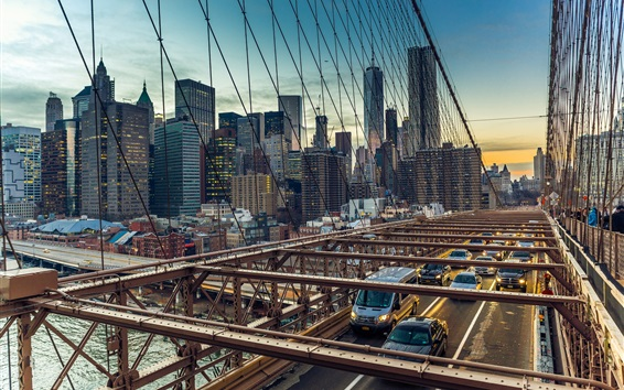 Papéis de Parede EUA, Brooklyn Bridge, Manhattan, carros, cidade
