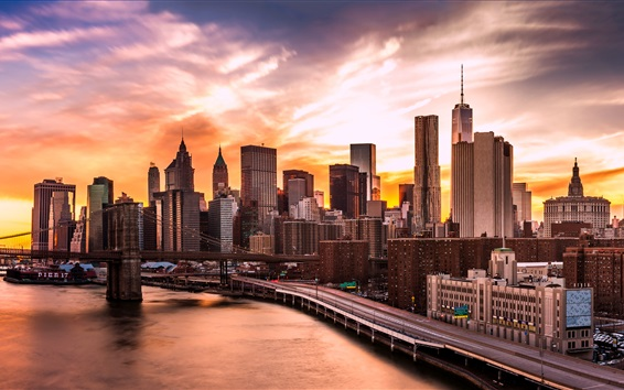 Wallpaper USA, Manhattan, New York, Brooklyn Bridge, East River, skyscrapers, clouds