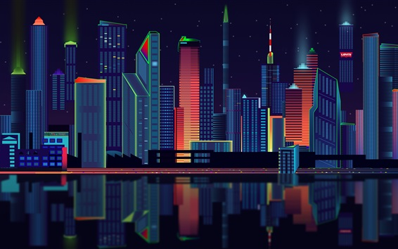 Wallpaper Vector design, city, skyscrapers, night