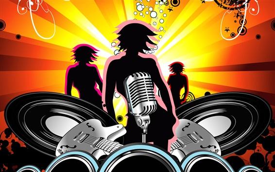 Fond d'écran Image de vecteur, design, thème de la musique, guitare, microphone