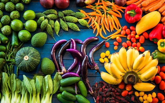 Wallpaper Vegetables and fruit, lime, banana, eggplant, pumpkin, bitter gourd
