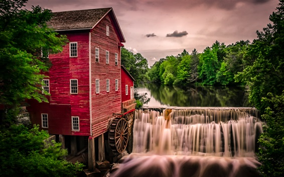 Wallpaper Water mill, waterfall, trees, house, Wisconsin, USA
