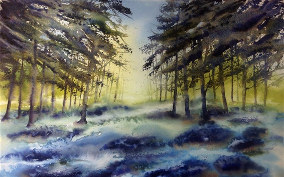 Wallpaper Watercolor painting, forest, trees