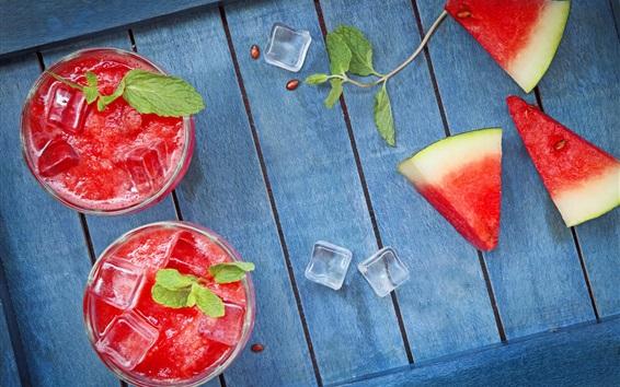 Wallpaper Watermelon slices, juice, ice cubes, summer dessert
