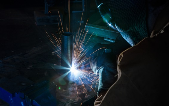 Wallpaper Welder Sparks Glare Worker 1920x1200 Hd Picture Image
