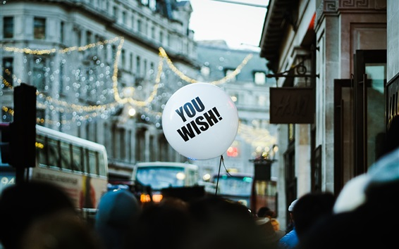 Wallpaper White balloon, street, city