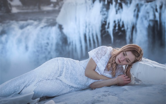 Wallpaper White lace skirt girl sleep in winter, snow, Iceland