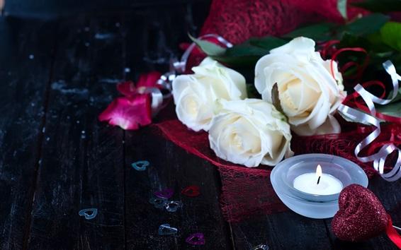 Papéis de Parede Rosas brancas, corações de amor, vela