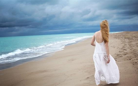 Wallpaper White skirt blonde girl back view, beach, sea