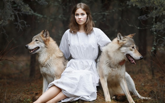 Wallpaper White skirt girl and two dogs