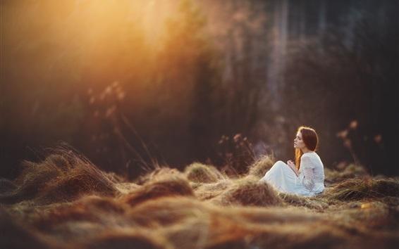 Wallpaper White skirt girl sit on grass, forest