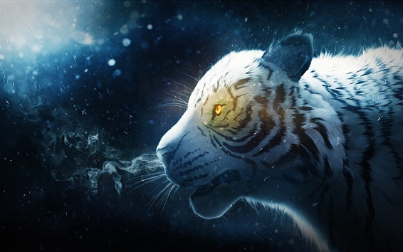 Wallpaper White tiger, snow, smoke, art picture