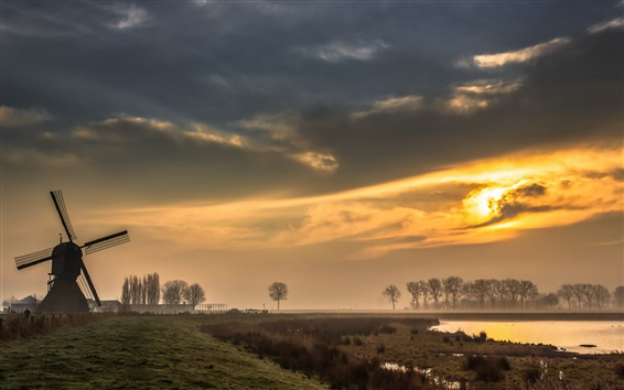 Wallpaper Windmill, trees, clouds, fog, sunrise