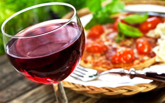 Wallpaper Wine, glass cup, fork, pizza