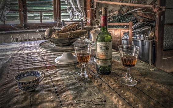 Wallpaper Wine, glass cups, bottle, ruins