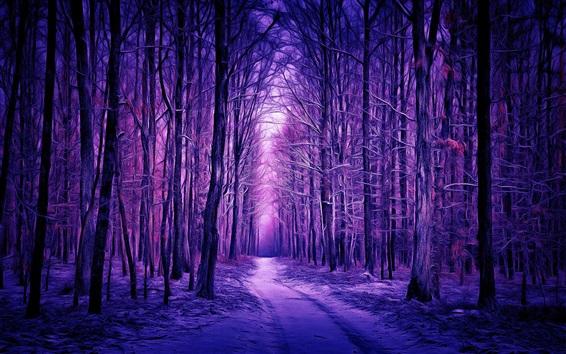 Wallpaper Winter, forest, snow, purple style, art