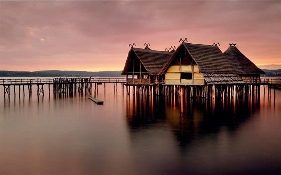 Fond d'écran Maison en bois, jetée, mer, crépuscule