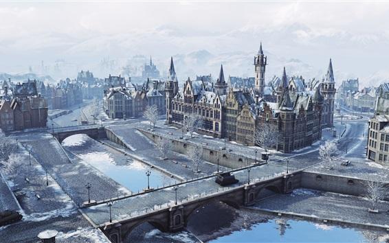 Wallpaper World of Tanks, Windstorm, city, winter
