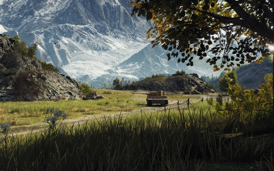 Wallpaper World of Tanks, grass, mountains, trees