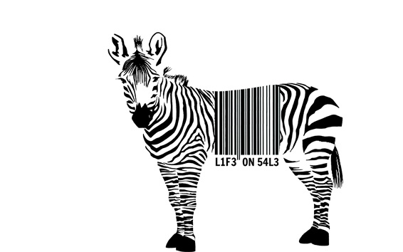 Wallpaper Zebra, barcode, white background