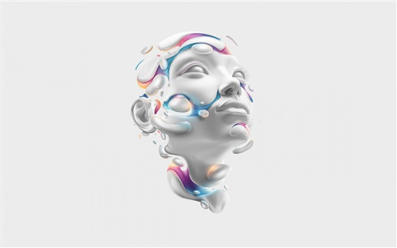 Wallpaper 3D rendering, face, head, abstract