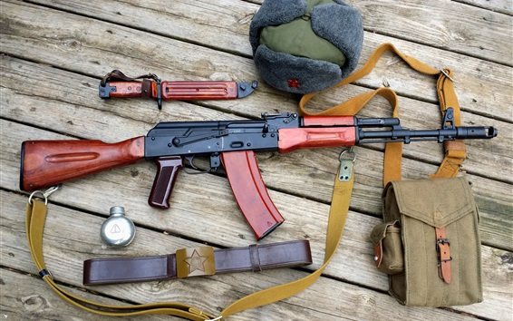 Papéis de Parede Rifles AK-47, chapéu, faca de baioneta, bolsa